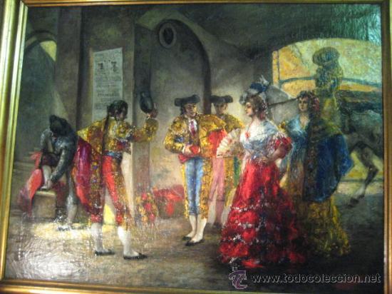 Arte: Tema taurino. Oleo sobre lienzo finales del siglo XIX . Anonimo - Foto 7 - 29270266
