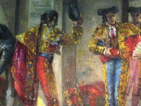 Arte: Tema taurino. Oleo sobre lienzo finales del siglo XIX . Anonimo - Foto 8 - 29270266