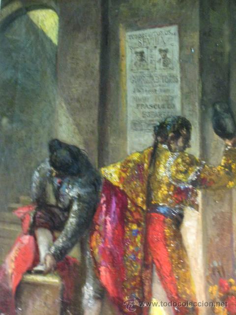 Arte: Tema taurino. Oleo sobre lienzo finales del siglo XIX . Anonimo - Foto 9 - 29270266