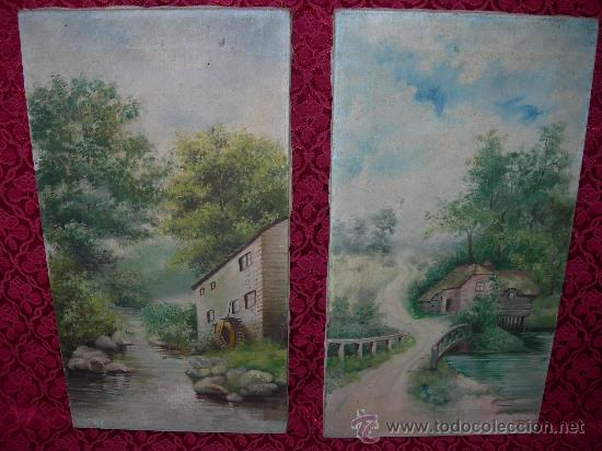 Antigua pareja de cuadros pintados al oleo con comprar - Cuadros de parejas ...