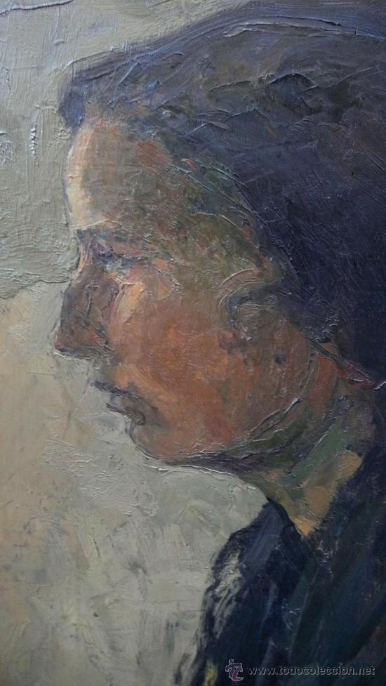 Arte: Albert Mallofré, retrato de gitana. Óleo sobre tabla. 59x73 cm. Marco: 76x90 cm. - Foto 6 - 57255078