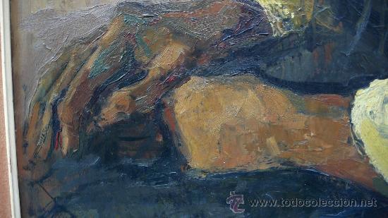 Arte: Albert Mallofré, retrato de gitana. Óleo sobre tabla. 59x73 cm. Marco: 76x90 cm. - Foto 3 - 57255078