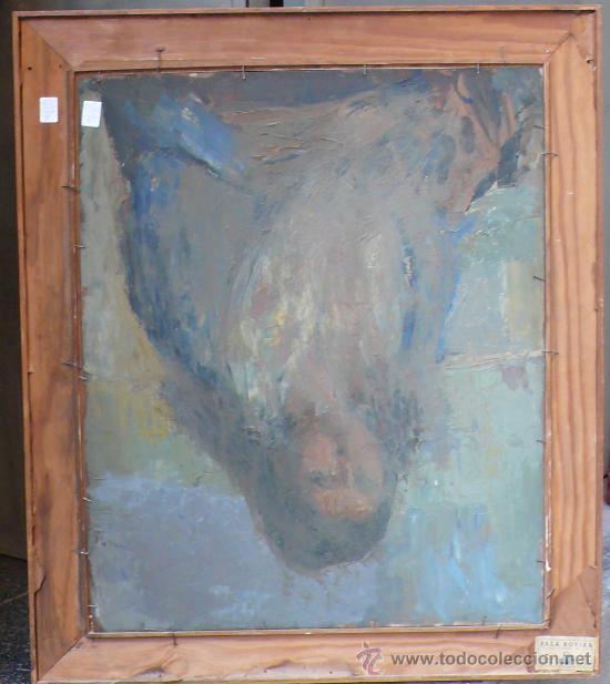 Arte: Albert Mallofré, retrato de gitana. Óleo sobre tabla. 59x73 cm. Marco: 76x90 cm. - Foto 4 - 57255078