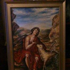 Arte: OLEO ANTIGUO DEL BUEN PASTOR SOBRE TELA, DEL 1938, FIRMADO.. Lote 30337489