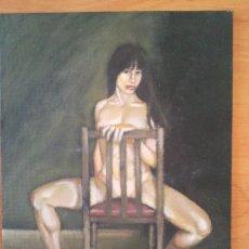 Arte: OLEO SOBRE CARTON ENTELADO DESNUDO EN LA SILLA. Lote 30354510