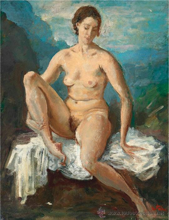 COLECCIÓN DE ELIZABETH TAYLOR : AUGUSTUS EDWIN JOHN, O.M., R.A. DESNUDO CATALOGADO Y FIRMADO (Arte - Pintura - Pintura al Óleo Moderna sin fecha definida)
