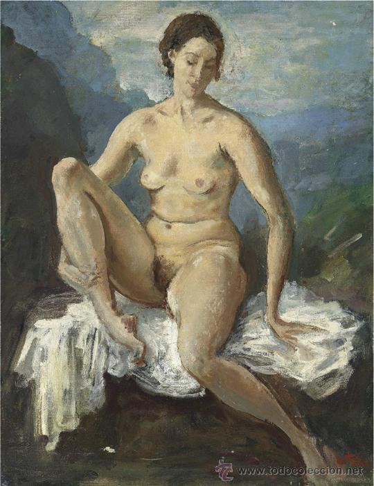 Arte: Colección de Elizabeth Taylor : Augustus Edwin John, O.M., R.A. Desnudo catalogado y firmado - Foto 5 - 30408406