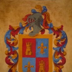 Arte: PRECIOSO ESCUDO DE ARMAS REALIZADO SOBRE PERGAMINO, CALIDAD, CONSERVACIÓN. Lote 30711145