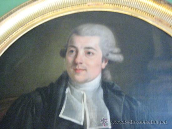 Arte: Impresionante retrato de caballero,( abate?) frances S. XVIII finales, Oleo sobre lienzo - Foto 3 - 30735016