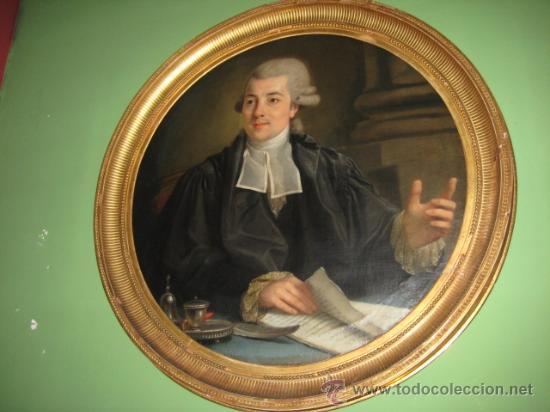 Arte: Impresionante retrato de caballero,( abate?) frances S. XVIII finales, Oleo sobre lienzo - Foto 13 - 30735016