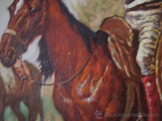 Arte: CUADRO: OLEO DON QUIJOTE A CABALLO, COLECCION PRIVADA, reproduce a RICARDO BALACA 60 x 90 cm arpox - Foto 8 - 27870897