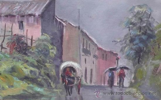 Arte: J.Colomer, 1956, paisaje, óleo sobre lienzo, marco: 49x59 cm. - Foto 2 - 30784993
