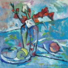 Arte: 'NATURALEZA MUERTA EN AZULES'. ÓLEO LIENZO. EXPRESIONISMO DEL COLOR. DOMINGO CORREA. Lote 30811280
