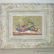 Arte: 'TIBOR AMARILLO Y FRUTAS'. ÓLEO TABLA. EXPRESIONISMO DEL COLOR. DOMINGO CORREA.. Lote 30847953
