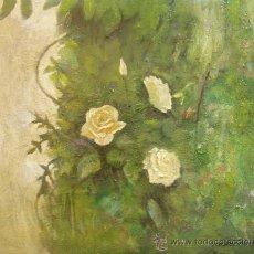 Arte: DOMINGO CORREA. ÓLEO SOBRE LIENZO 'TRES ROSAS' PAISAJE. PINTURA. FLORES.. Lote 30863921