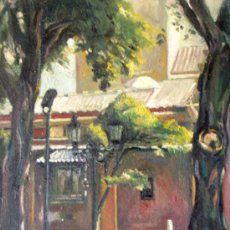 Arte: DOMINGO CORREA ÓLEO SOBRE LIENZO 'SAN LORENZO' 46 X 38 CM. PAISAJE. SEVILLA.. Lote 30888122