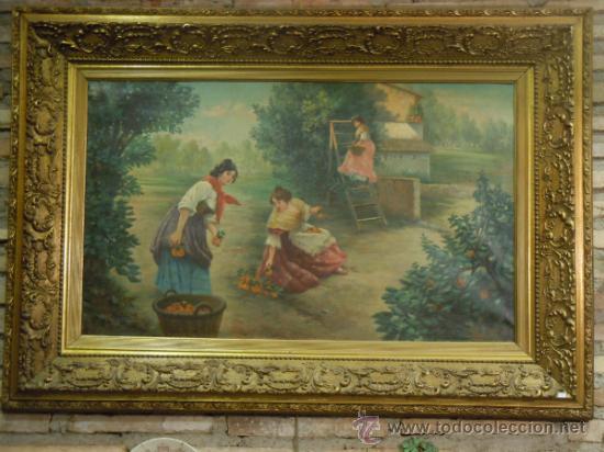 OLEO SOBRE LIENZO FIRMADO BRETON. FINALES SIGLO XIX (Arte - Pintura - Pintura al Óleo Moderna siglo XIX)