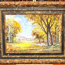 Arte: JOAQUIM MARSILLACH I CODONY (OLOT, GERONA 1905 - 1986) OLEO SOBRE TABLA. PAISAJE CON REBAÑO. Lote 186353575