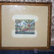 Arte: B2-025. O/PAPEL REPRESENTANDO LA PLAZA DE CATALUÑA DE BARCELONA FIRMA ILEGIBLE 1954. Lote 31006575