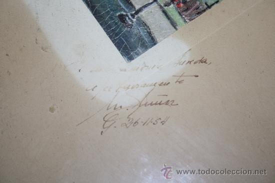 Arte: B2-025. O/PAPEL REPRESENTANDO LA PLAZA DE CATALUÑA DE BARCELONA FIRMA ILEGIBLE 1954 - Foto 3 - 31006575