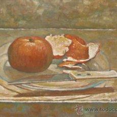 Arte: DOMINGO CORREA. ÓLEO LIENZO. 'BODEGONCITO CON NARANJA Y CUCHILLO'. Lote 31161923