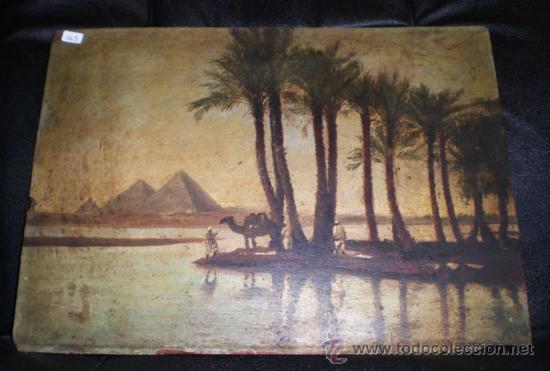 BONIO OLEO SOBRE TABLA, S.XIX, EL RIO NILO Y LAS PIRAMIDES (KEOPS, KEFREN & MIKERINOS) (Arte - Pintura - Pintura al Óleo Moderna siglo XIX)