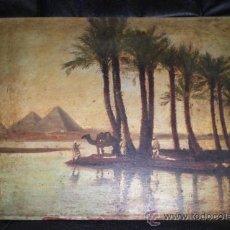 Arte: BONIO OLEO SOBRE TABLA, S.XIX, EL RIO NILO Y LAS PIRAMIDES (KEOPS, KEFREN & MIKERINOS). Lote 31497107