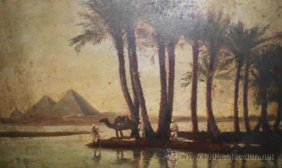 Arte: Bonio Oleo sobre Tabla, S.XIX, El Rio Nilo y Las Piramides (Keops, Kefren & Mikerinos) - Foto 2 - 31497107
