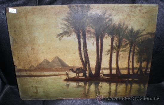Arte: Bonio Oleo sobre Tabla, S.XIX, El Rio Nilo y Las Piramides (Keops, Kefren & Mikerinos) - Foto 3 - 31497107