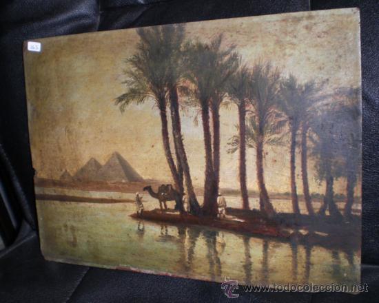 Arte: Bonio Oleo sobre Tabla, S.XIX, El Rio Nilo y Las Piramides (Keops, Kefren & Mikerinos) - Foto 4 - 31497107