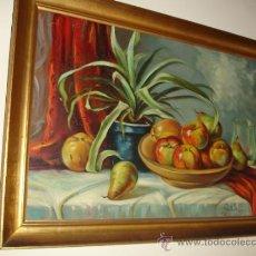 Arte: SALVADOR REVERTE(CARTAGENA). OLEO SOBRE TELA DE LOS AÑOS 60 PRECIOSO BODEGÓN MUY GRANDE. Lote 31541624
