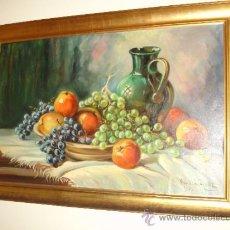 Arte: SALVADOR REVERTE(CARTAGENA). OLEO SOBRE TELA DE LOS AÑOS 60. PRECIOSO BODEGÓN MUY GRANDE. Lote 31541659