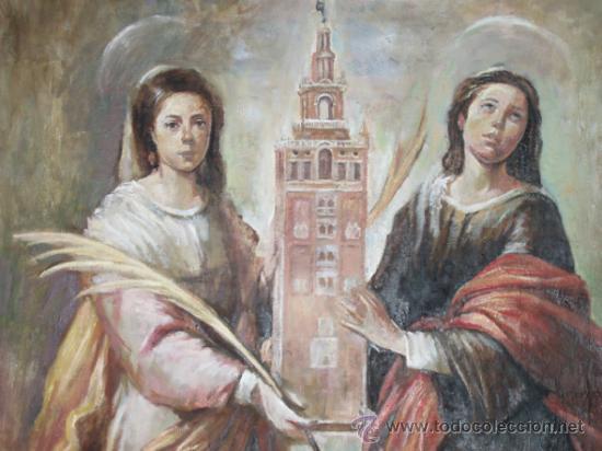 ÓLEO SOBRE LIENZO. 'SANTAS JUSTA Y RUFINA'. COPIA MURILLO, SEVILLA. PATRONAS. (Arte - Pintura Directa del Autor)