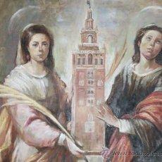 Arte: ÓLEO SOBRE LIENZO. CUADRO: 'SANTAS JUSTA Y RUFINA'. COPIA MURILLO, SEVILLA. PATRONAS. PINTURA.. Lote 31688014