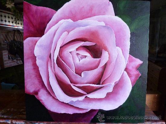 ROSA DE COLOR ROSA, OLEO SOBRE TABLA , FORMATO 3D (Arte - Pintura Directa del Autor)