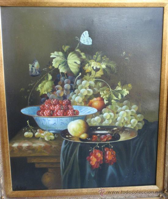 Arte: Bodegon pintado al oleo sobre lienzo y magnifico marco dorado pan de oro. Medida 87,5 x77 cm - Foto 2 - 31754115