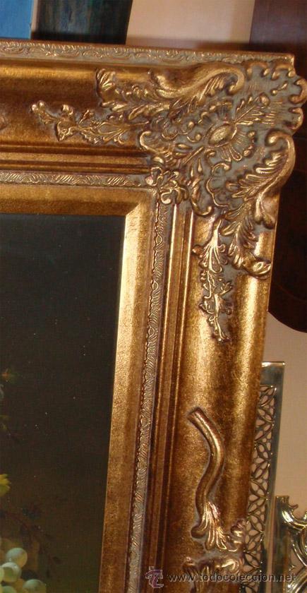 Arte: Bodegon pintado al oleo sobre lienzo y magnifico marco dorado pan de oro. Medida 87,5 x77 cm - Foto 3 - 31754115