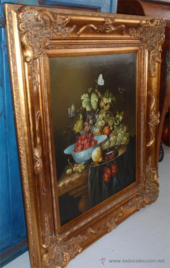 Arte: Bodegon pintado al oleo sobre lienzo y magnifico marco dorado pan de oro. Medida 87,5 x77 cm - Foto 4 - 31754115