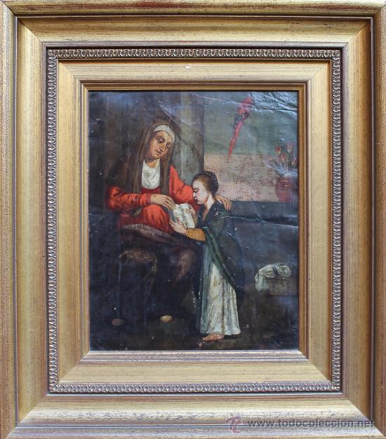 CUADRO ANTIGUO OLEO SOBRE COBRE POSIBLEMENTE SIGLO XVIII (Arte - Pintura - Pintura al Óleo Antigua siglo XVIII)