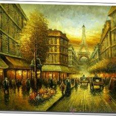 Arte: PARIS, OLEO SOBRE LIENZO, PRECIOSA ESCENA PARISINA CON TORRE EIFFEL. Lote 111216982