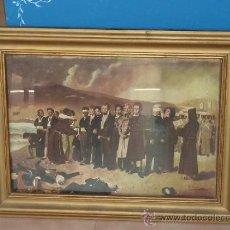 Arte: ANTIGUO OLEO SOBRE TELA DE TEMATICA MILITAR. FUSILAMIENTO DEL GENERAL TORRIJOS Y COMPAÑEROS EN 1831. Lote 38120804