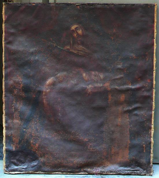 PIEDAD DEL S. XVIII, ÓLEO SOBRE TELA 97X84 CM. MUY ESTROPEADA. . (Arte - Pintura - Pintura al Óleo Antigua siglo XVIII)
