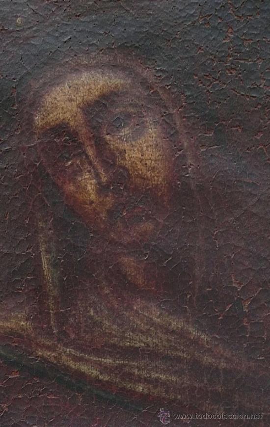Arte: Piedad del s. XVIII, óleo sobre tela 97x84 cm. Muy estropeada. . - Foto 6 - 31952624