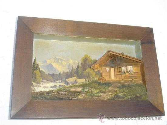 CUADRO PINTURA AL OLEO Y CASA DE MADERA (Arte - Pintura - Pintura al Óleo Antigua sin fecha definida)