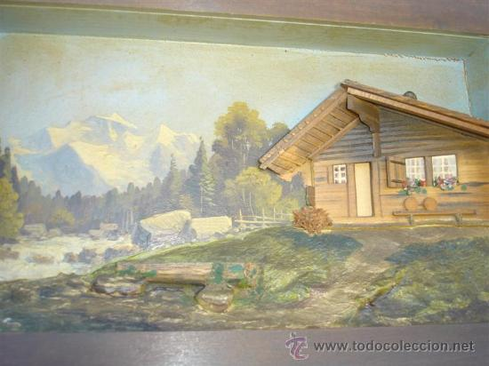 Arte: cuadro pintura al oleo y casa de madera - Foto 2 - 32088632