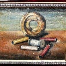 Arte: RAMÓN JOU SENABRE (1893 - 1978) OLEO SOBRE TELA. BODEGÓN DE HILOS. Lote 32300745