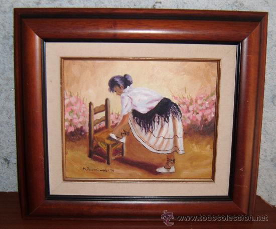 Cuadro al oleo con moza calzandose enmarcado comprar for Enmarcar cuadros precios