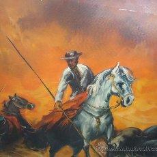 Arte: BELLA PINTURA AL OLEO RECOGIDA DE LOS TOROS,LA DESMANDADA DEL TORO POR EL MONO SABIO. Lote 32389905