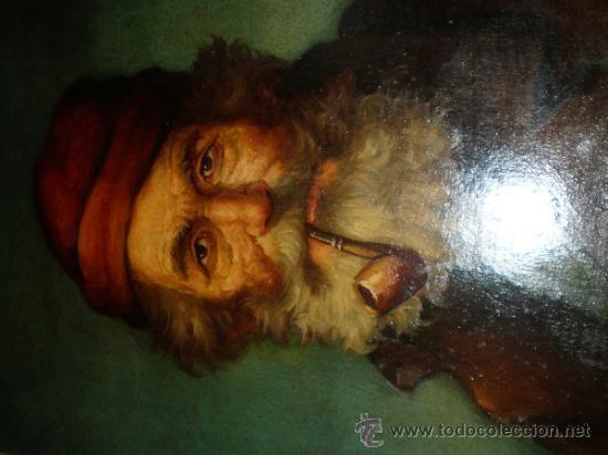Arte: pintura al oleo señor con barba y pipa firmado oller - Foto 10 - 32475840