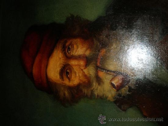 Arte: pintura al oleo señor con barba y pipa firmado oller - Foto 9 - 32475840